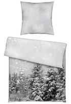 BETTWÄSCHE Flanell Grau, Weiß 135/200 cm - Weiß/Grau, KONVENTIONELL, Textil (135/200cm) - Esposa