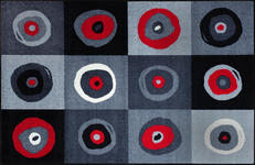 FUßMATTE 115/175 cm Graphik Grau, Rot, Schwarz  - Rot/Schwarz, Basics, Kunststoff/Textil (115/175cm) - Esposa