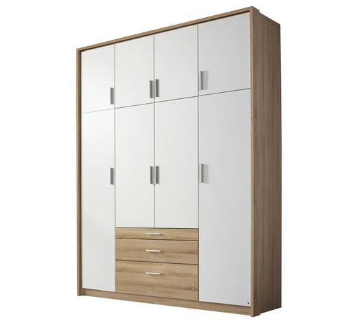DREHTÜRENSCHRANK in Weiß, Eichefarben - Eichefarben/Weiß, Design, Holzwerkstoff/Kunststoff (185/231/56cm) - Carryhome