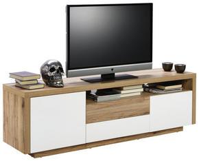 MEDIABÄNK - vit/ekfärgad, Klassisk, träbaserade material (160/50/40cm) - Carryhome
