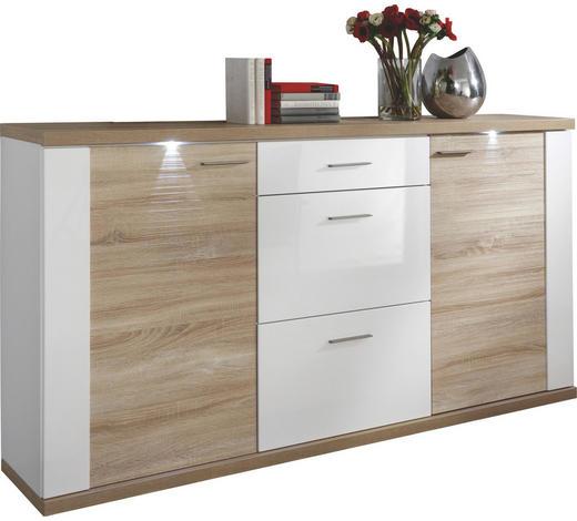 SIDEBOARD Weiß, Eichefarben - Chromfarben/Eichefarben, Design, Holzwerkstoff/Kunststoff (194/107/42cm) - Xora