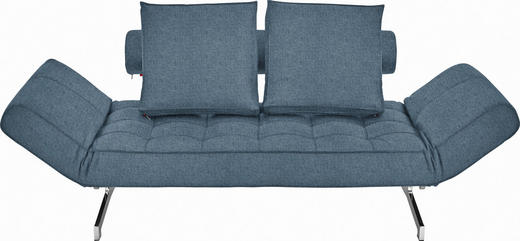 SCHLAFSOFA Flachgewebe Blau - Blau/Chromfarben, Design, Textil/Metall (180-210/68/90cm) - Innovation