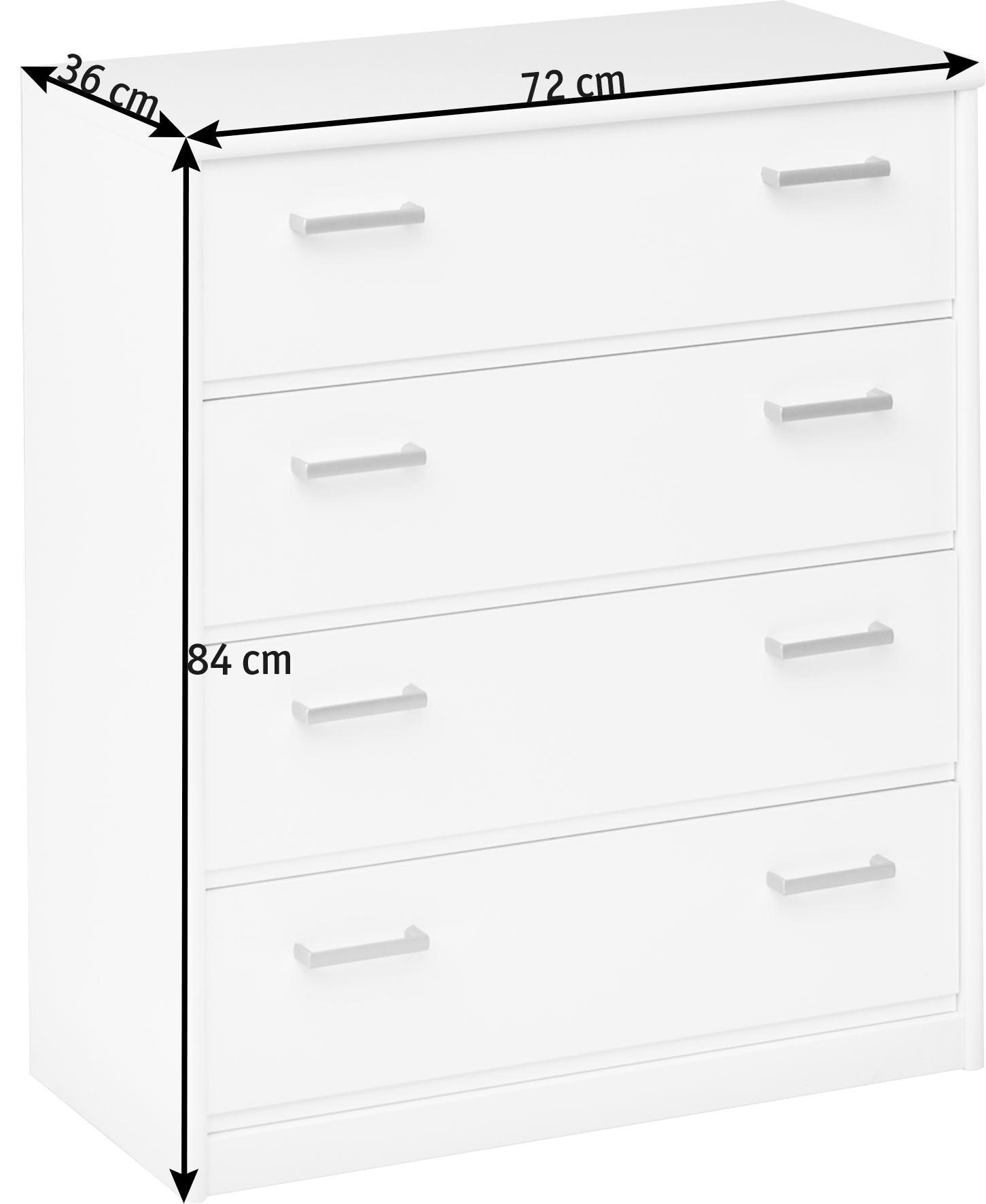 KOMODA - bijela/boje srebra, Konvencionalno, drvni materijal/plastika (72/84/36cm) - CS SCHMAL