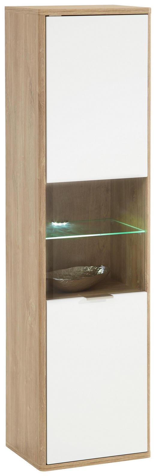 HÄNGEVITRINE Eichefarben, Weiß - Edelstahlfarben/Eichefarben, Design, Glas/Holzwerkstoff (41/151/32cm) - Hom`in
