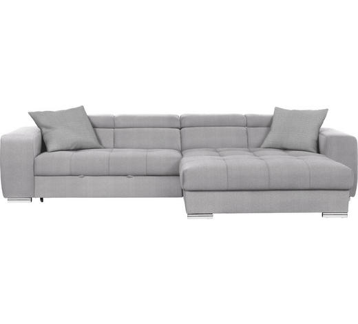 WOHNLANDSCHAFT in Textil Grau - Chromfarben/Grau, Design, Kunststoff/Textil (329/186cm) - Hom`in