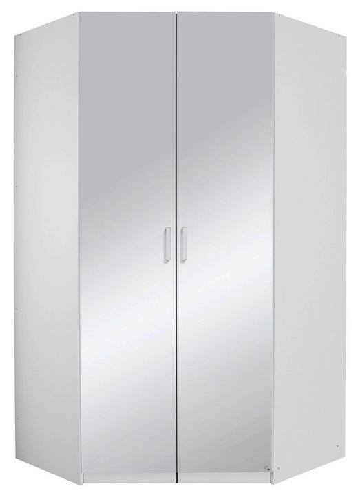 ECKSCHRANK Weiß - Alufarben/Weiß, Design, Glas/Holzwerkstoff (123/222/123cm) - Hom`in
