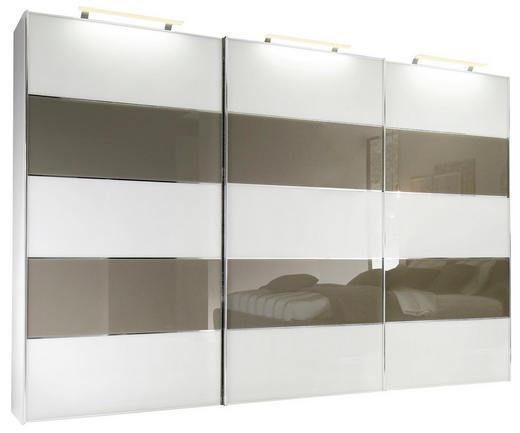 SCHWEBETÜRENSCHRANK 3  -türig Braun, Weiß - Chromfarben/Braun, Basics, Glas/Holzwerkstoff (280/222/68cm) - Moderano
