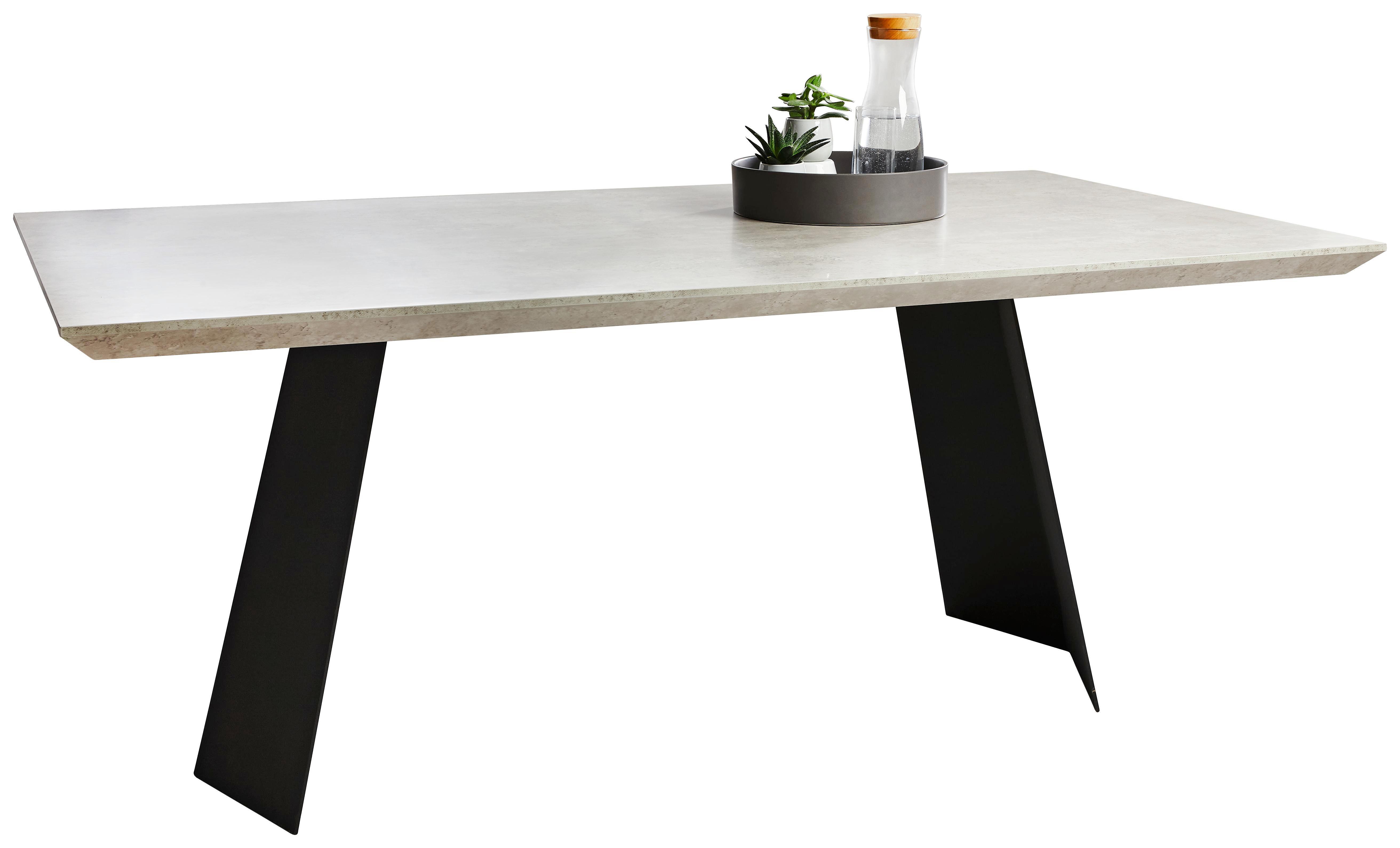 ESSTISCH rechteckig Grau, Schwarz - Schwarz/Grau, Design, Metall (180/76/100cm) - NOVEL