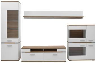 REGAL ZA DNEVNI BORAVAK - bijela/boje hrasta, Design, staklo/drvni materijal (370/206,1/50cm) - Hom`in