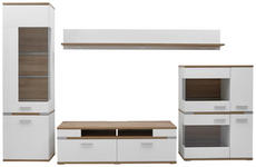 WOHNWAND Eichefarben, Weiß - Eichefarben/Silberfarben, Design, Glas/Holzwerkstoff (370/206,1/50cm) - Hom`in