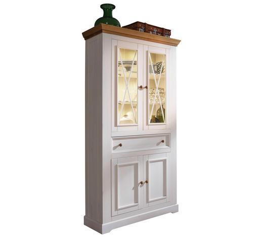 VITRINE Kiefer massiv Weiß, Eichefarben  - Eichefarben/Weiß, LIFESTYLE, Glas/Holz (109/214/42cm) - Carryhome