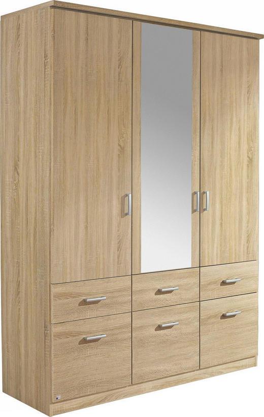 KLEIDERSCHRANK 3  -türig Sonoma Eiche - Silberfarben/Sonoma Eiche, Design, Glas/Holz (136/197/54cm) - CARRYHOME