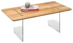 COUCHTISCH in Glas, Holz 110/60/40 cm - Eichefarben, Design, Glas/Holz (110/60/40cm) - Hom`in
