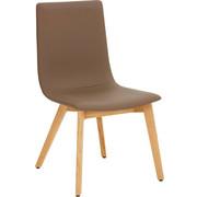 STUHL in Holz, Leder Eichefarben, Grau - Eichefarben/Grau, Design, Leder/Holz (49/90/60cm) - Hülsta