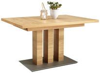 ESSTISCH in Holz, Holzwerkstoff 130(178)/90/75 cm   - Edelstahlfarben/Eichefarben, Design, Holz/Holzwerkstoff (130(178)/90/75cm) - Moderano