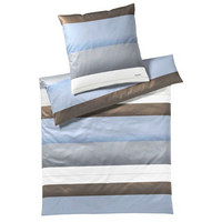 BETTWÄSCHE Makosatin Blau, Braun, Grau, Weiß 155/220 cm - Blau/Braun, Basics, Textil (155/220cm) - Joop!