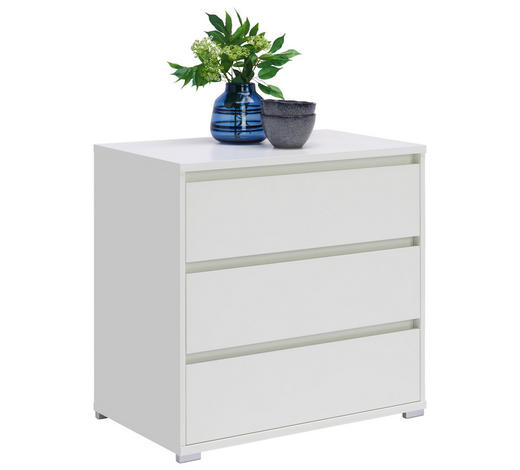 KOMMODE 80/79/48 cm  - Silberfarben/Weiß, Design, Holzwerkstoff/Kunststoff (80/79/48cm) - Carryhome