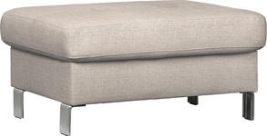 HOCKER in Textil Beige - Chromfarben/Beige, Design, Textil/Metall (90/44/73cm) - Xora