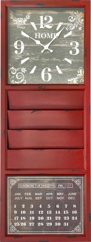 VÄGGKLOCKA - röd, Lifestyle, metall/papper (38/105/6cm) - Ambia Home