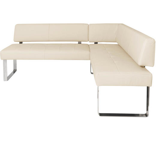 ECKBANK  in Chromfarben, Beige  - Chromfarben/Beige, Design, Leder/Metall (206/165cm) - Novel
