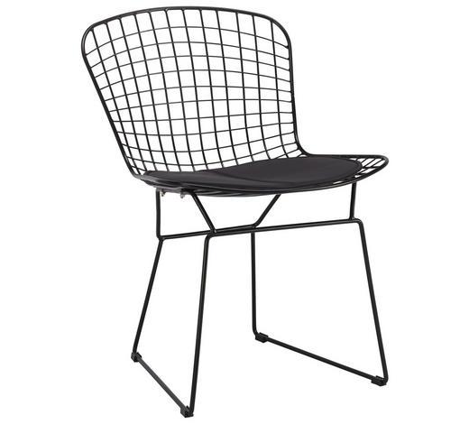 STUHL in Metall, Textil Schwarz  - Schwarz, Design, Textil/Metall (51/77/64cm)