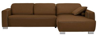 WOHNLANDSCHAFT in Braun Textil - Chromfarben/Braun, Design, Holz/Textil (296/195cm) - Hom`in