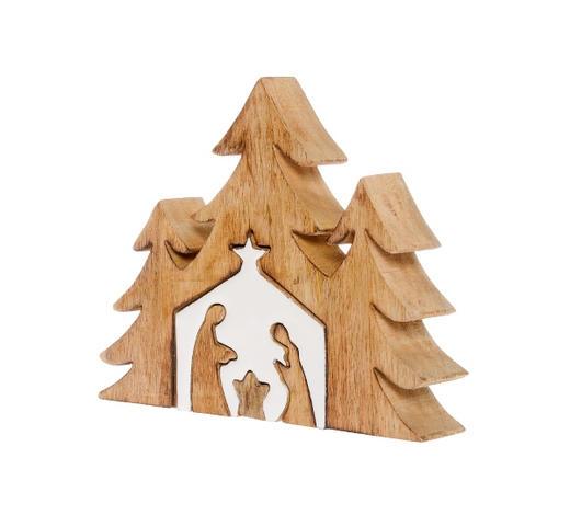 Tannenbaumpuzzle mit Krippe  Creme, Naturfarben   - Creme/Naturfarben, Holz (17/22/3,5cm) - X-Mas