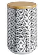 DÓZA NA POTRAVINY - bílá/černá, Lifestyle, dřevo/keramika (10/15cm) - Landscape