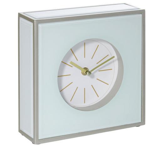 TISCHUHR 20/20/6 cm - Silberfarben/Weiß, Design, Glas/Holzwerkstoff (20/20/6cm) - Xora