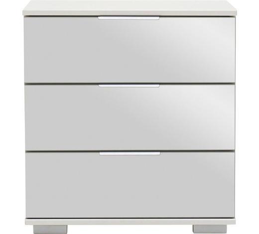 NOČNÍ STOLEK, bílá - bílá/barvy hliníku, Design, kov/kompozitní dřevo (52/58/38cm) - Carryhome