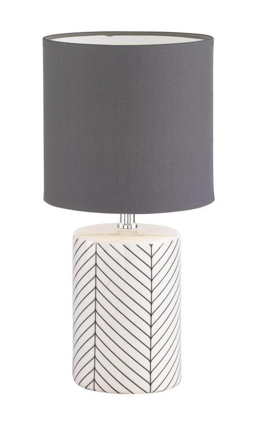 TISCHLEUCHTE - Schwarz/Weiß, KONVENTIONELL, Keramik/Textil (19/39cm)