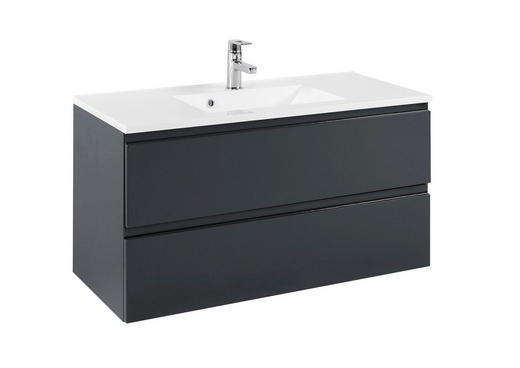 WASCHTISCHKOMBI Graphitfarben - Graphitfarben/Weiß, Design, Holzwerkstoff/Stein (100/56/47cm) - Xora
