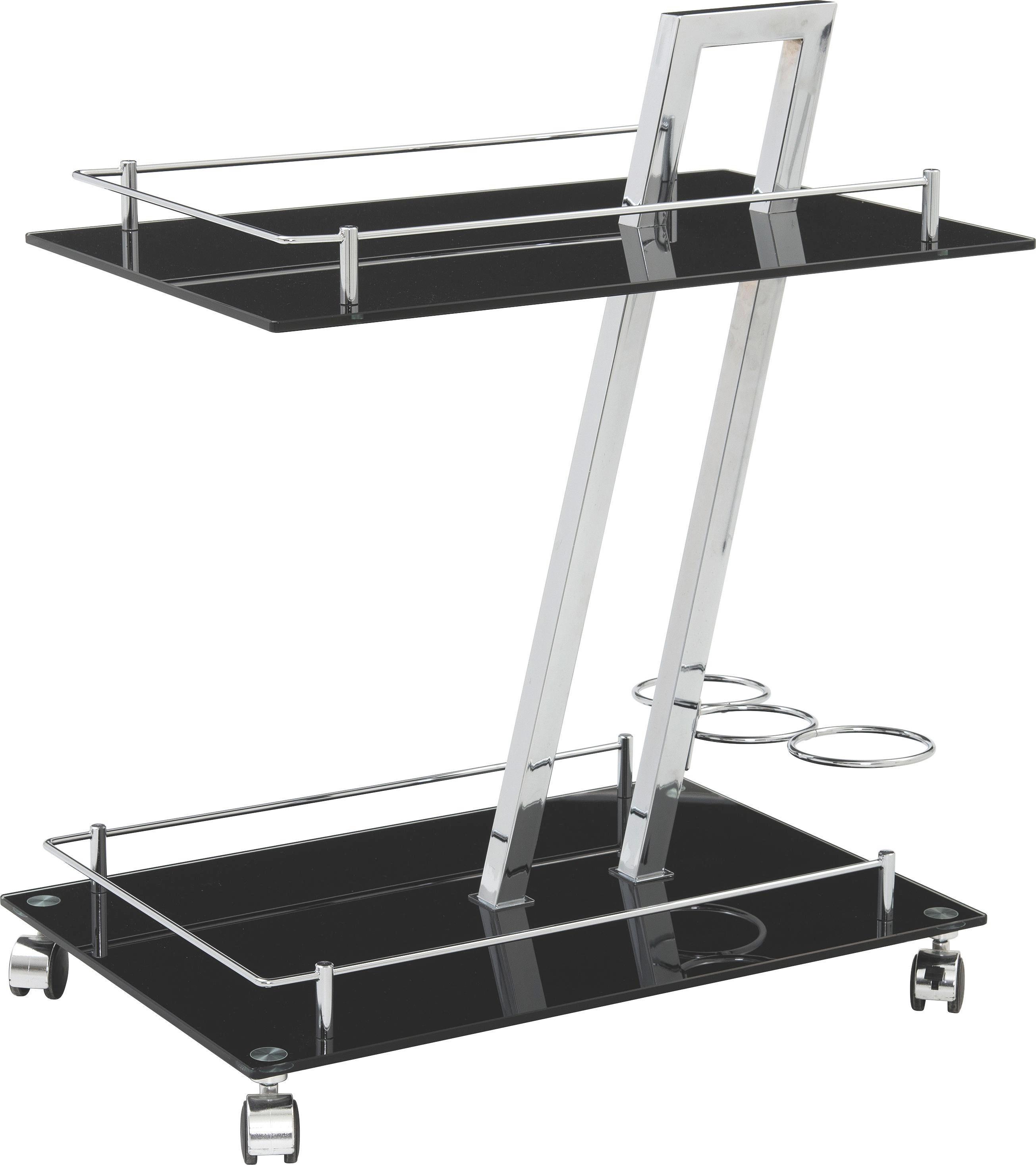 SERVIERWAGEN in Schwarz - Schwarz, Design, Glas/Kunststoff (40/72/60cm)