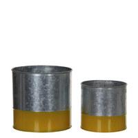 LONAC ZA CVIJEĆE - žuta, metal (13.5/13cm)