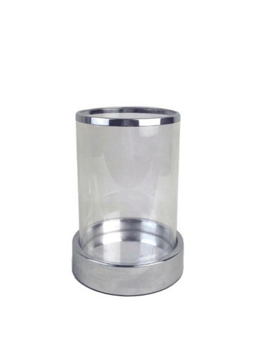 WINDLICHT - Klar/Silberfarben, Design, Glas/Metall (14,5/20cm) - Ambia Home