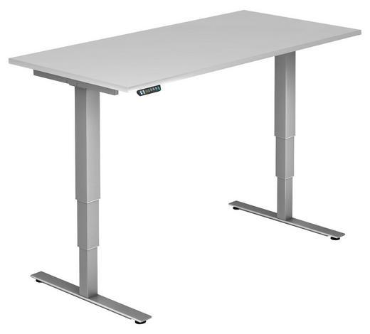 SCHREIBTISCH - Silberfarben/Weiß, KONVENTIONELL, Holzwerkstoff/Metall (160/63,5-128,5/80cm)