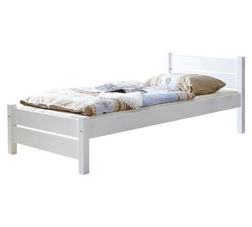 BETT Kiefer massiv 90/200 cm  - Weiß, Natur, Holz (90/200cm) - Carryhome