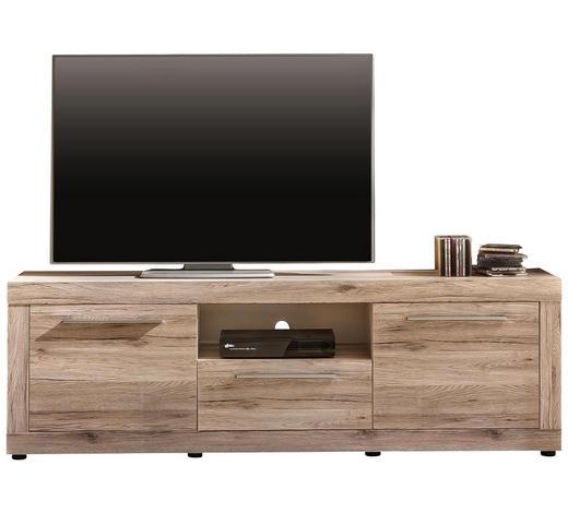 TV-ELEMENT Weiß, Eichefarben - Eichefarben/Silberfarben, Design, Kunststoff (180/54/47cm) - Carryhome