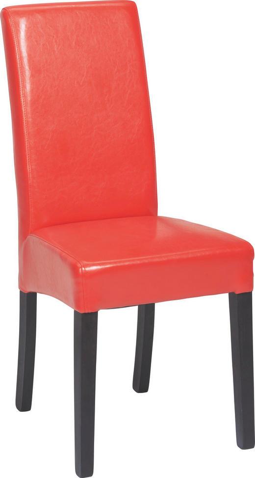 STUHL Lederlook Buche massiv Rot, Wengefarben - Wengefarben/Rot, LIFESTYLE, Holz/Textil (42/95/54cm) - Carryhome