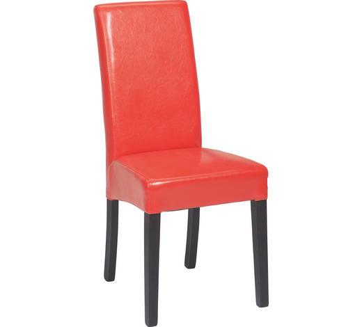 STUHL Lederlook Buche massiv Rot, Wengefarben  - Wengefarben/Rot, LIFESTYLE, Holz/Textil (42/95/57cm) - Carryhome