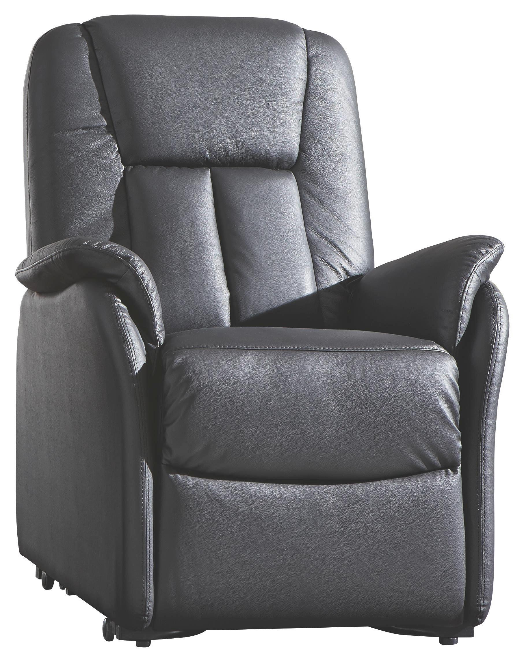 FERNSEHSESSEL In Schwarz Leder, Textil   Schwarz, KONVENTIONELL, Leder/Kunststoff  (87