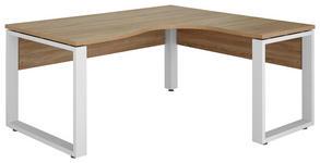 ECKSCHREIBTISCH in Metall, Holzwerkstoff 160/75,6/140 cm  - Weiß/Sonoma Eiche, KONVENTIONELL, Holzwerkstoff/Metall (160/75,6/140cm) - Voleo