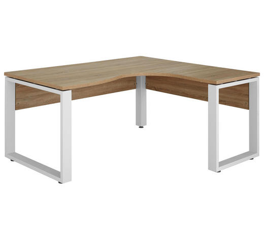 ROHOVÝ PSACÍ STŮL, bílá, Sonoma dub - bílá/Sonoma dub, Konvenční, kov/kompozitní dřevo (160/75,6/140cm) - Voleo