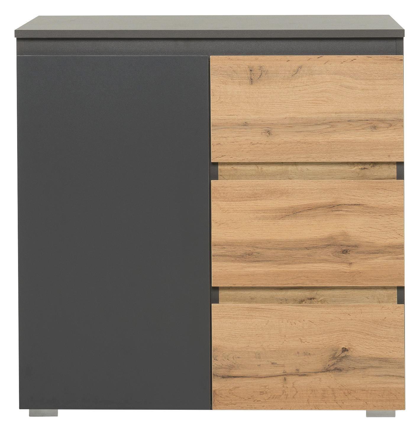 KOMMODE Anthrazit, Eichefarben - Eichefarben/Anthrazit, KONVENTIONELL, Holzwerkstoff (80/80/40cm) - CARRYHOME