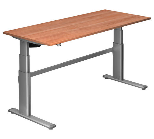 SCHREIBTISCH - Silberfarben/Nussbaumfarben, Design, Holzwerkstoff/Metall (180/66-130/80cm)