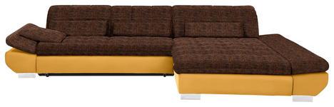 WOHNLANDSCHAFT in Textil Gelb, Orange  - Chromfarben/Gelb, Design, Kunststoff/Textil (341/204cm) - Xora