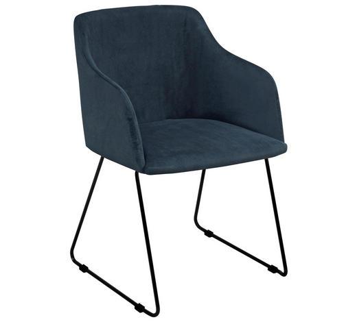 ŽIDLE S PODRUČKAMI, tmavě modrá - černá/tmavě modrá, Design, kov/textil (52/79,5/54,5cm) - Carryhome