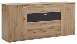 SIDEBOARD 180/85/44 cm  - Eichefarben/Silberfarben, KONVENTIONELL, Holzwerkstoff/Kunststoff (180/85/44cm) - Xora