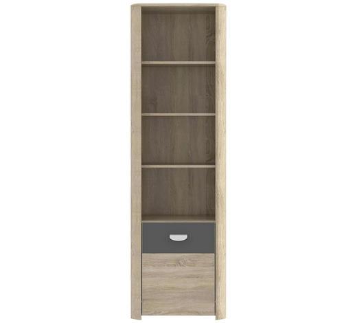 REGÁL, antracitová, barvy dubu - barvy dubu/antracitová, Design, kompozitní dřevo (59/194/41cm) - Carryhome