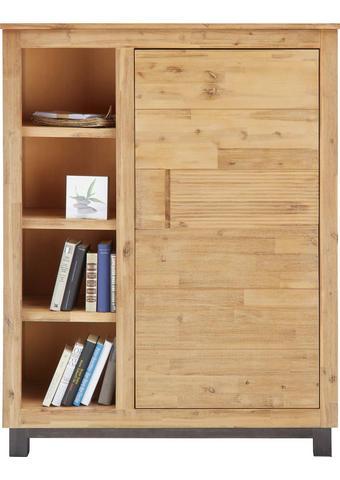 KOMODA HIGHBOARD - šedá/barvy akácie, Konvenční, dřevo (110/140/45cm) - Zandiara